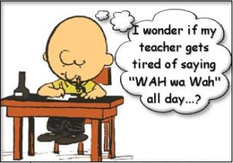 Charlie Brown in class thinking