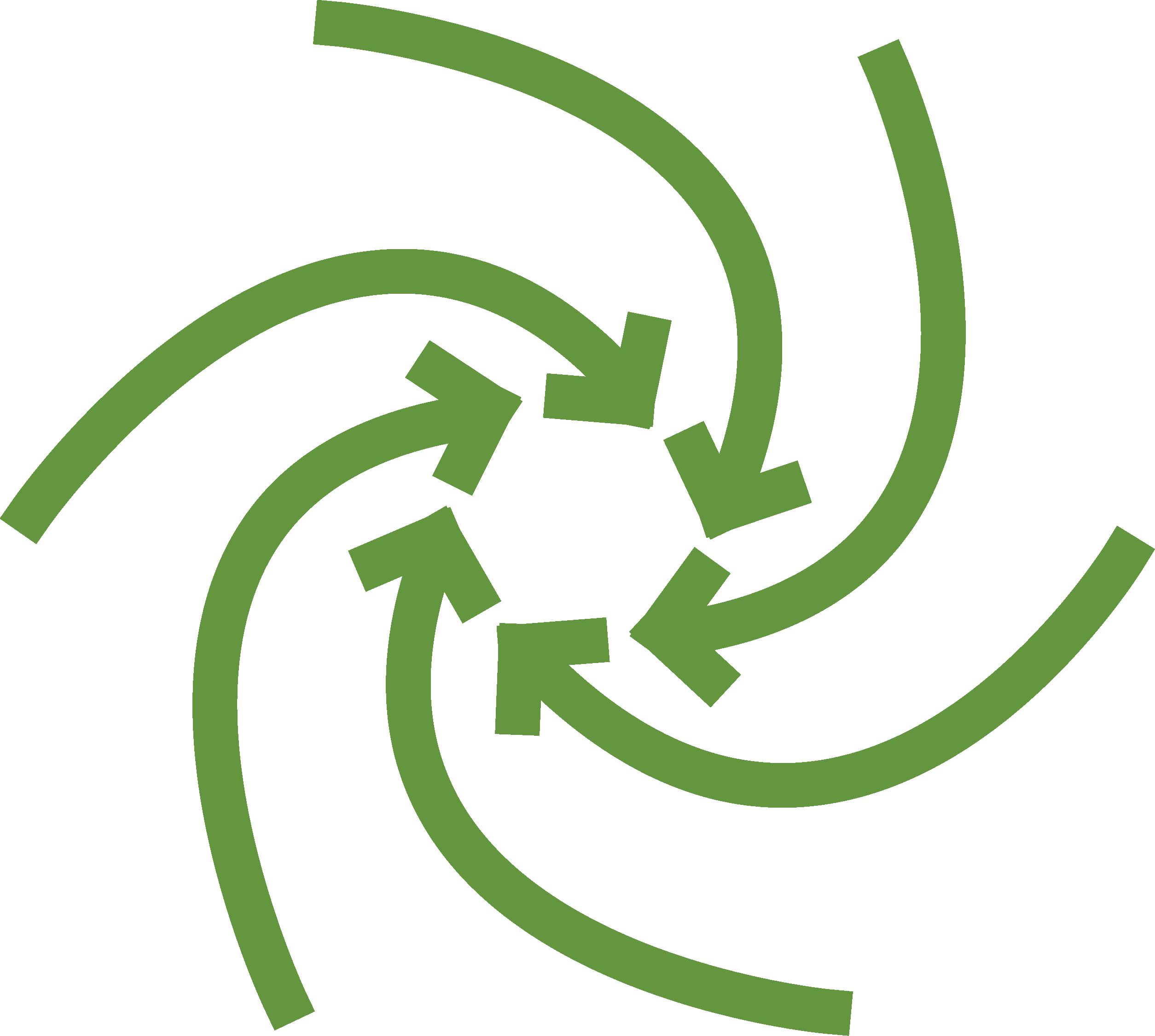 circular green arrows pointing inward