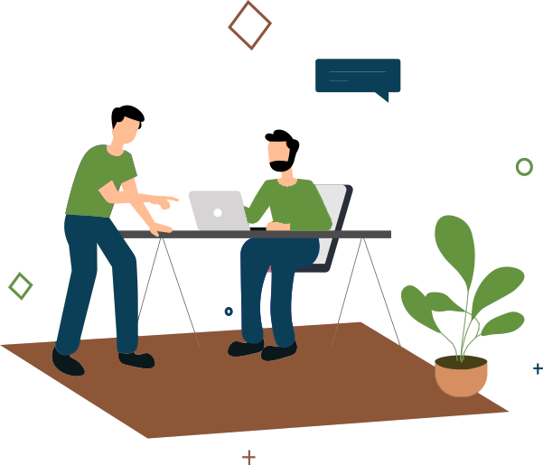 Two men at desk talking graphic