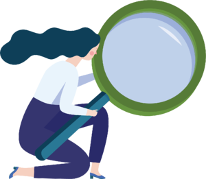 Woman with magnifying glass graphic
