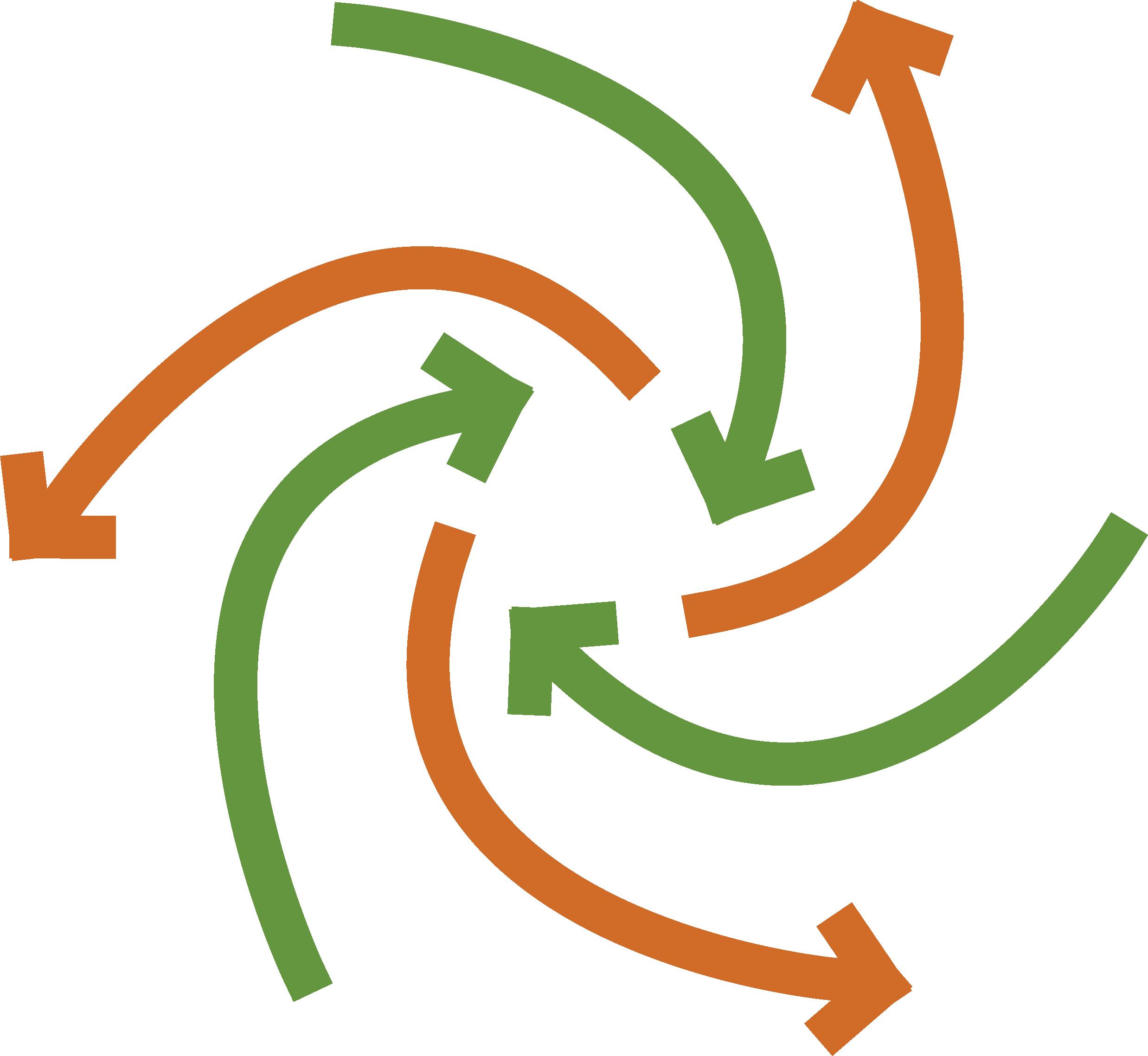 circular green and orange arrows