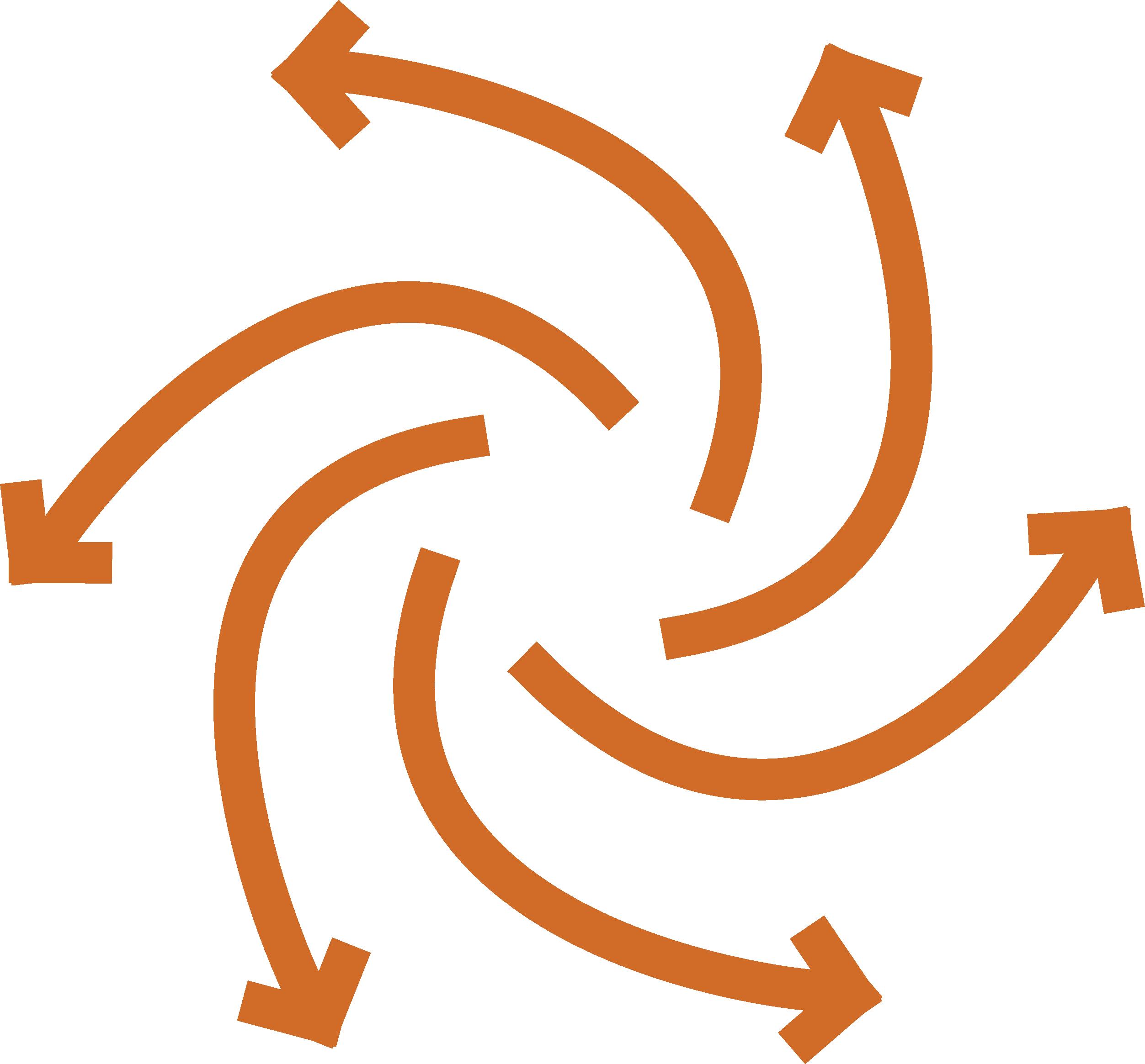 circular outward facing orange arrows
