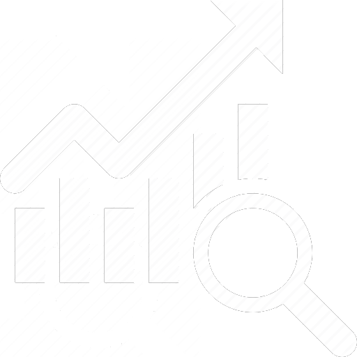 Rising chart with magnifying glass graphic