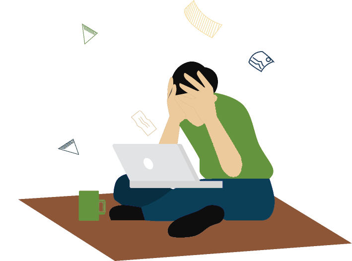 Frustrated woman at computer graphic
