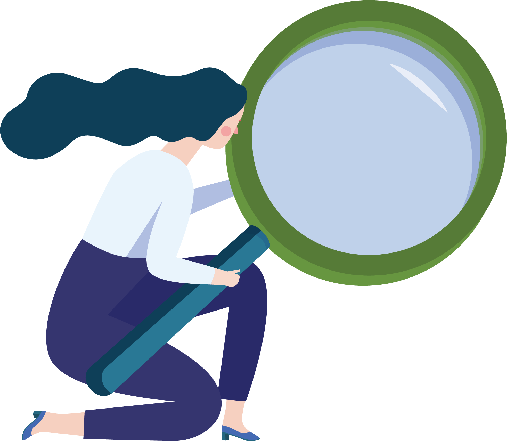 Woman with a magnifying glass graphic